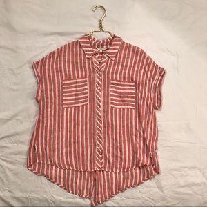 Lucky Brand Striped Short Sleeve Blouse